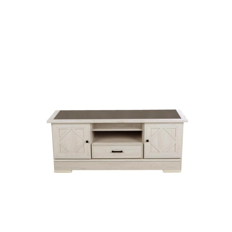 meuble tv camille chene blanchi gris