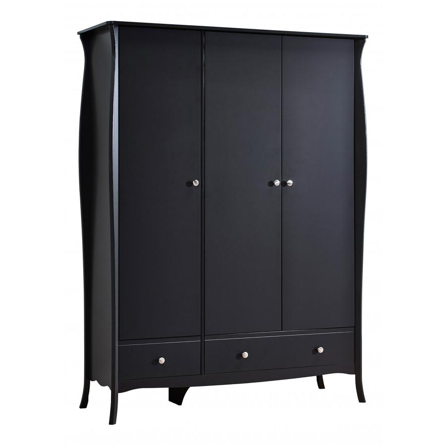 Armoire 3 portes 1 tiroir BARROCO Noir