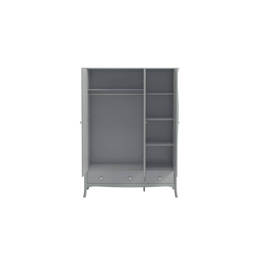 Armoire 3 portes 1 tiroir BARROCO Gris